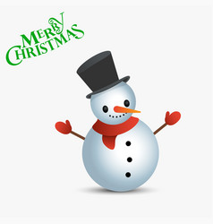 Snowman with text merry christmas christmas card vector