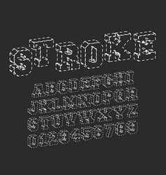 stroke alphabet font template vector image