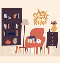 stylish interior cozy room flat vector image