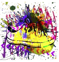 Stylish Sneakers On grunge background vector image
