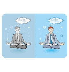 Successful businessman doing yoga vector image