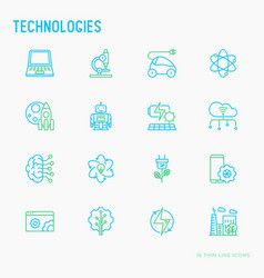 Technologies thin line icons set vector