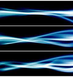 Three bright blue glow header neon swoosh line vector
