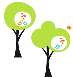 Tree with love birds vector