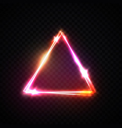 triangle neon sign on transparent background vector image
