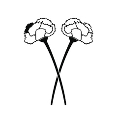 Two carnation flowers black icon vector