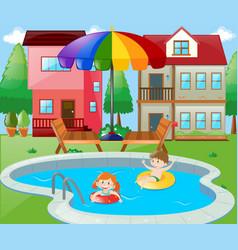 Two kids swimming in backyard vector