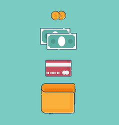 Wallet with money and creditcard vector