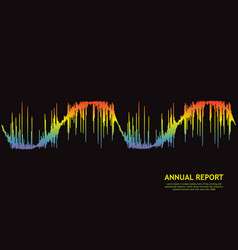 wave annual report on black 3d rainbow pulse vector image