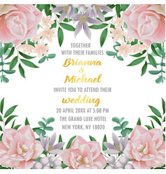 Wedding invitation with flowers and greenery vector