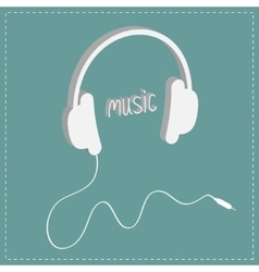 White headphones with cord and word music vector