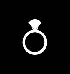 white silhouette of ring with diamond on black vector image
