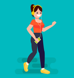 Woman run with a jogging player mp3 vector