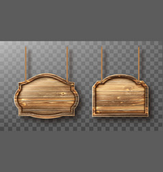 Wooden boards on ropes set realistic signboards vector