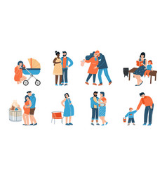 Young family happy father mother and their child vector