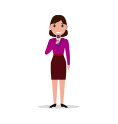 cartoon girl reporter with a microphone vector image vector image