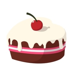 Chocolate cake with cherry cartoon icon vector image
