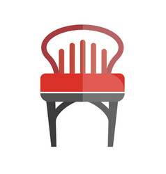 red chair with lined back isolated on white vector image vector image
