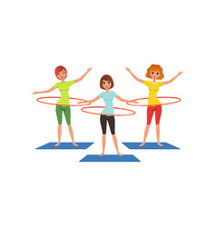 sporty young girls doing hula-hoop workout vector image vector image