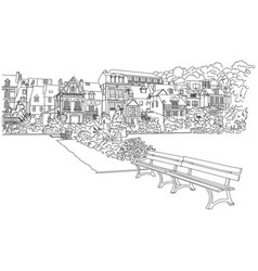 city sketching on white background honfleur vector image