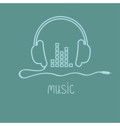 Headphones with cord and equalizer word Music vector image vector image