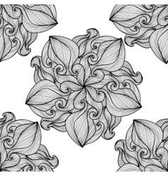 Mandala Black and white round ornament vector image vector image
