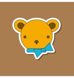 paper sticker on stylish background Kids toy bear vector image