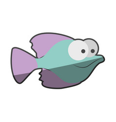 silhouette multicolor pastel of small fish with vector image vector image
