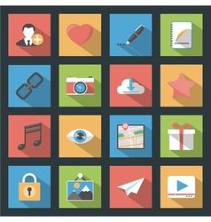 Socia media web flat icons set with longshadow vector image vector image