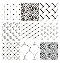 black decorative seamless patterns set vector image