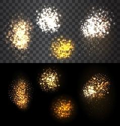 Festive set firework bursting various shapes vector image vector image