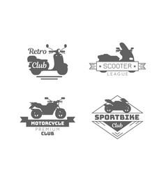 black motorcycle logotypes set vector image