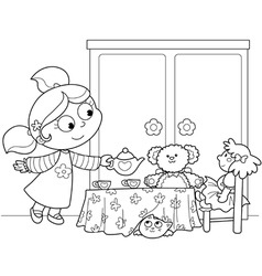cute young girl serving tea vector image vector image