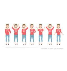 set of emotions and gestures to the young woman vector image vector image