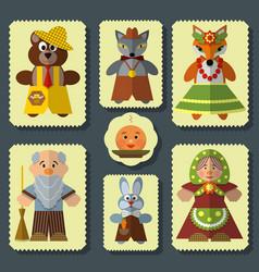 set of the bun russian folk fairy tale vector image vector image