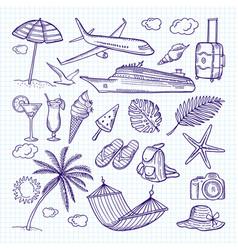 summer hand drawn elements sun umbrella vector image