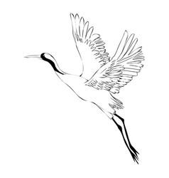watercolor set of bird crane white stork vector image vector image