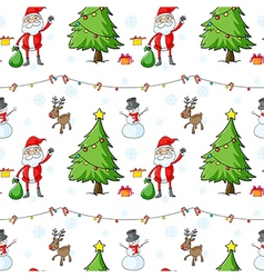 a seamless christmas template with santa claus and vector image