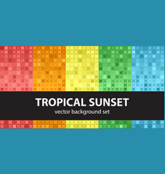 Abstract pattern set tropical sunset seamless vector
