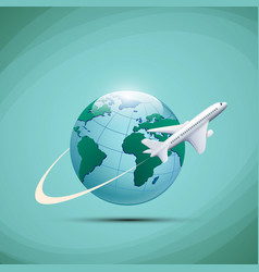 Airplane flies around the earth planet vector