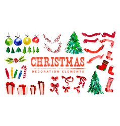 artistic watercolor christmas and new year vector image