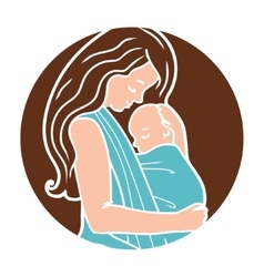 Babywearing Round Logo With Mother Hugging vector