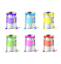 big set open metal paint cans with color paint vector image