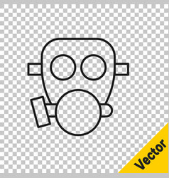 black line gas mask icon isolated on transparent vector image