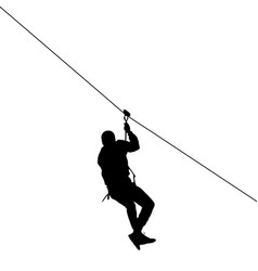 black silhouette extreme rope descent attraction vector image