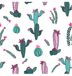 Cactus pink and teal vector