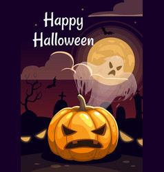 cartoon halloween greeting card with creepy vector image