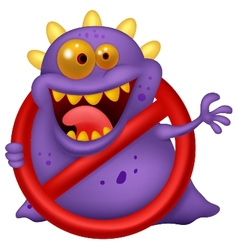Cartoon Stop virus - purple virus in red alert sig vector image