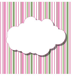 Cartoon white cloud with shadow on striped vector