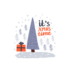 christmas tree holidays card vector image